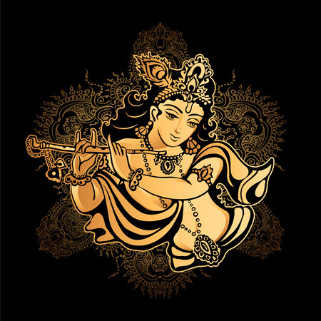 Krishna Janmashtami - Hindu festival. Hare Krishnas. Golden Krishna playing a flute on a black background and the mandala background Çizim