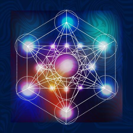 神聖な幾何学シンボルを聖体拝領と抽象的なベクトルの背景  イラスト・ベクター素材