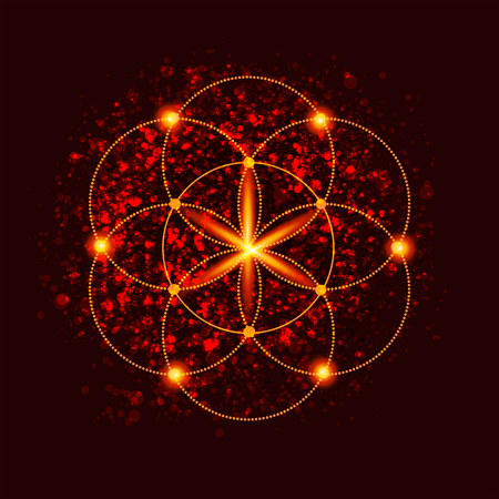 abstract vector background with consecrated symbols of sacred geometry Ilustração