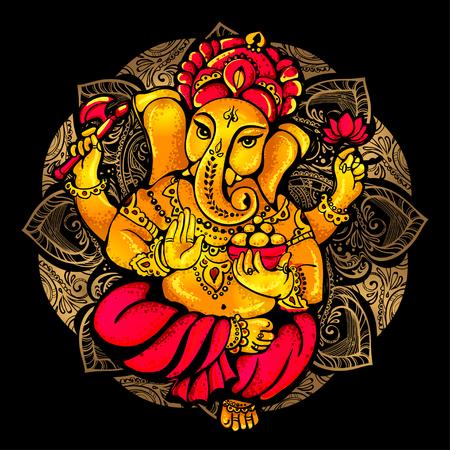ヒンドゥー教の神ガネーシュのベクトル分離画像。ガネーシュ祭式。ガネーシュ ・ フェスティバル。ポストカード、版画、テキスタイル、タトゥー