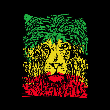 Rasta theme with lion head on black background. Vector illustration. Illustration