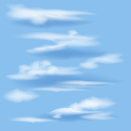 white clouds: isolated white clouds on a blue background