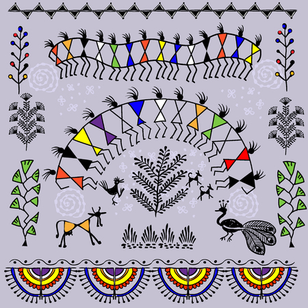 indian traditional: Warli peynting - hand drawn traditional the ancient tribal art India. Pictorial language is matched by a rudimentary technique depicting rural life of the inhabitants of India