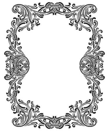 cadre baroque vintage constitué de vignettes victoriennes et de damassé Ornement, Orné tourbillon design décoratif, pour des invitations de mariage, diplômes, conception du livre