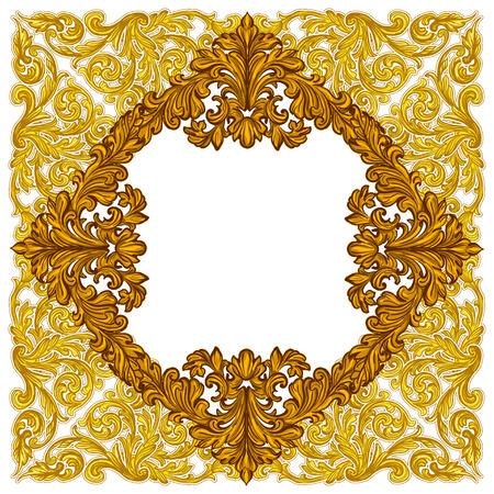 Jahrgang Barockrahmen, bestehend aus viktorianischen Vignetten und Damast Ornament, kunstvoll wirbeln dekorative Design-Element, für Hochzeitseinladungen, Diplome, Buchgestaltung