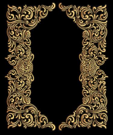 Vintage baroque frame consisting of Victorian vignettes and Damask ornament, ornate swirl decorative design element, for wedding invitations, diplomas, book design