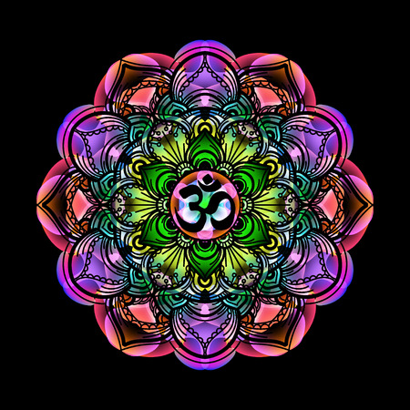 spiritual background: mandala - circle decorative spiritual indian symbol with OM sign of lotus flower to multi-color psychedelic colors and black background