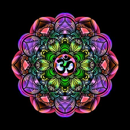 mandala - cercle décoratif symbole indien spirituel avec signe OM de fleur de lotus à multi-couleurs des couleurs psychédéliques et fond noir