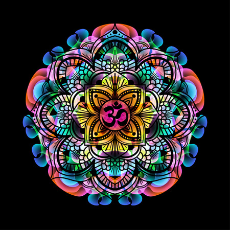 mandala - circle decorative spiritual indian symbol with OM sign of lotus flower to multi-color psychedelic colors and black background