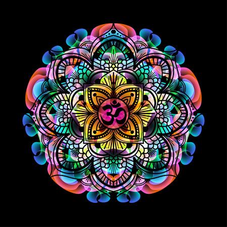mandala - cirkel decoratief geestelijke Indiase symbool met OM teken van de lotusbloem tot multi-color psychedelische kleuren en zwarte achtergrond
