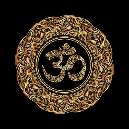 マンダラのディワリ Om シンボル。黒い背景に円形の黄金パターン。手描きの華やかなインド パターン装飾的なベクトルの要素。