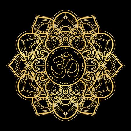 Diwali Om symbol with mandala. Round golden Pattern on black background. Hand drawn Ornate Indian pattern decorative vector elements.