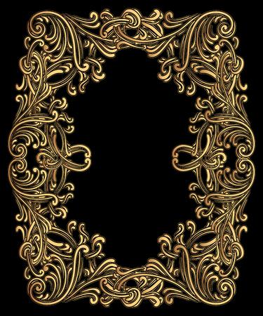 Vintage barokke lijst bestaande uit Victoriaanse vignetten en Damast ornament, sierlijke krul decoratief element, voor bruiloft uitnodigingen, diploma's, boeken ontwerp