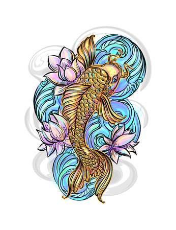 embossing: Hand drawn Asian spiritual symbols - colorful koi carp with lotus and waves. It can be used for tattoo and embossing or coloring Illustration