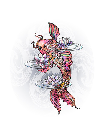 Hand drawn Asian spiritual symbols - colorful koi carp with lotus and waves. It can be used for tattoo and embossing or coloring Illustration