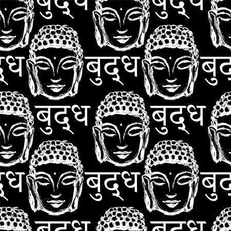 buddha head: seamless pattern of white Buddha head and the inscription on the language of Nepal - Buddha on a black background