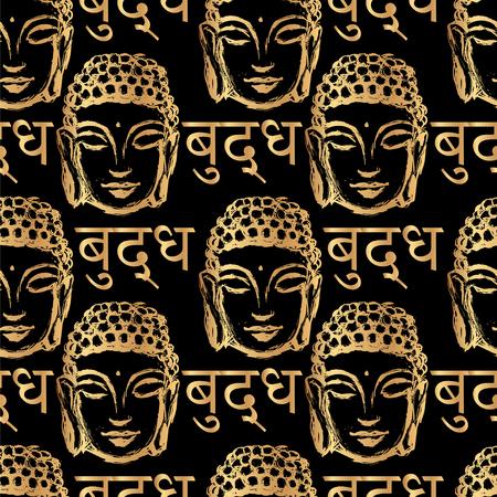 buddha head: seamless pattern of golden Buddha head and the inscription on the language of Nepal - Buddha on a black background Illustration