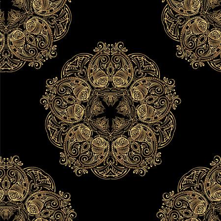 seamless pattern of gold mandala on a black background