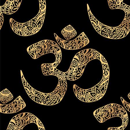 vishnu: Seamless pattern Om of mehendi - Indian sacred sound, original mantra. The symbol of the divine triad of Brahma, Vishnu and Shiva. Illustration