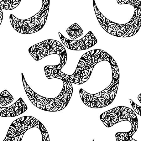mantra: Seamless pattern Om of mehendi - Indian sacred sound, original mantra. The symbol of the divine triad of Brahma, Vishnu and Shiva. Illustration