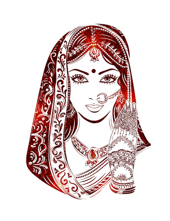 east indian: Shaadi. Indian woman in a wedding dress and bridal jewelry in the background of patterns of paisley.