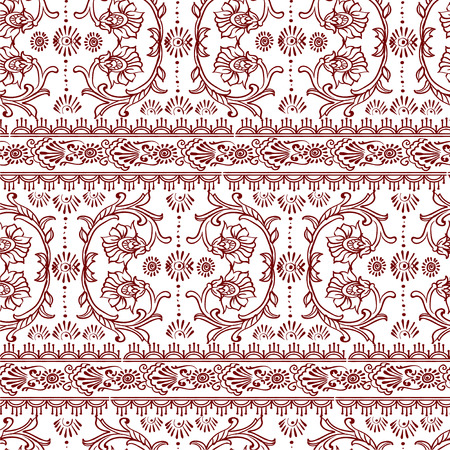 borders abstract: Ornamental seamless borders and patterns. Hand drawn Vector abstract floral elements in indian and islamic style Illustration