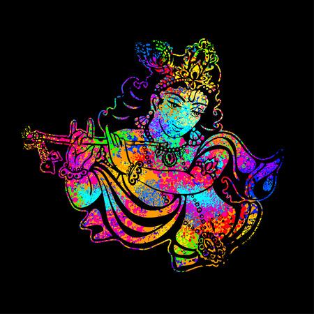 position d amour: Krishna jouant de la flûte sur un fond psychédélique. Affiche de vecteur pour un parti, l'impression sur des T-shirts, cartes de v?ux ou des invitations