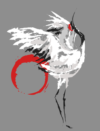 stylized dancing Japanese crane on the background the red sun