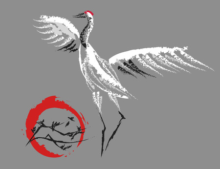 red sun: stylized dancing Japanese crane on the background the red sun