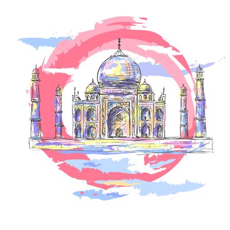 Taj Mahal in de stralen van de rijzende zon Stock Illustratie