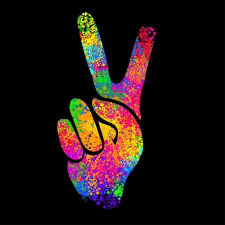 60s: hippie symbols two fingers as a sign of victory, a sign of Pacific and letterin love and peace. In the style of the 60s, 70s. Illustration