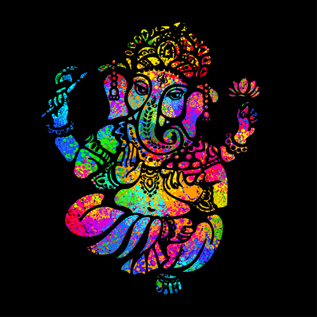 Lord Ganesha sitting in the lotus position on a psychedelic background. A poster for a party, printing on T-shirts, greeting cards or invitations Vectores