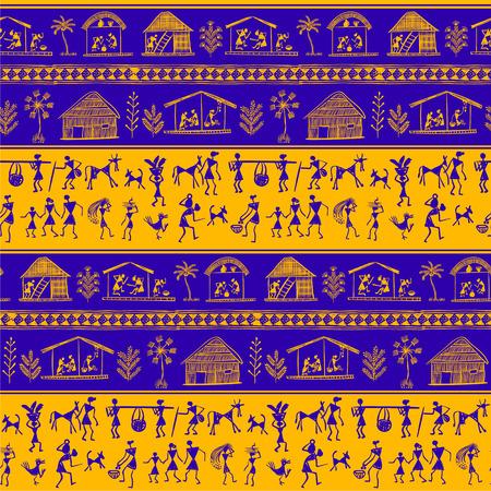 -手描きのシームレスなパターンを伝統的な絵画 Warli インド古代の部族芸術。初歩的な技術をインドの住民の農村の生活を描いた、絵画的言語が一致