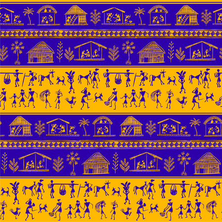 pictorial: Warli painting seamless pattern - hand drawn traditional the ancient tribal art India. Pictorial language is matched by a rudimentary technique depicting rural life of the inhabitants of India