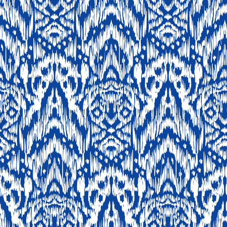 Seamless pattern Tribal Art Ikat Ogee in traditional classic blue and white colors. Boho style.