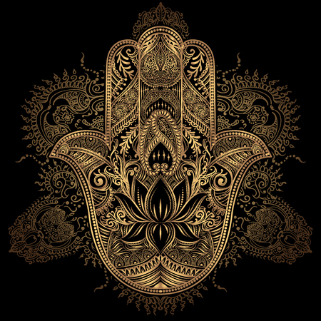 Hand drawn Ornate amulet Hamsa Hand of Fatima. Ethnic amulet common in Indian, Arabic and Jewish cultures. Vettoriali