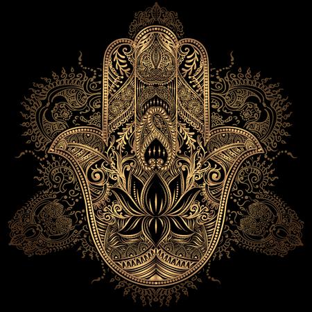 Ręcznie rysowane ozdobny amulet Hamsa Hand of Fatima. Etniczne amulet powszechne w kultur indyjskich, arabskich i żydowskich.