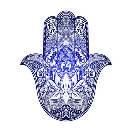 Hand drawn Ornate amulet Hamsa Hand of Fatima. Ethnic amulet common in Indian, Arabic and Jewish cultures. Ilustração