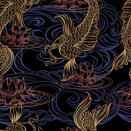 Seamless pattern from hand drawn Asian spiritual symbols - koi carp with lotus and waves.