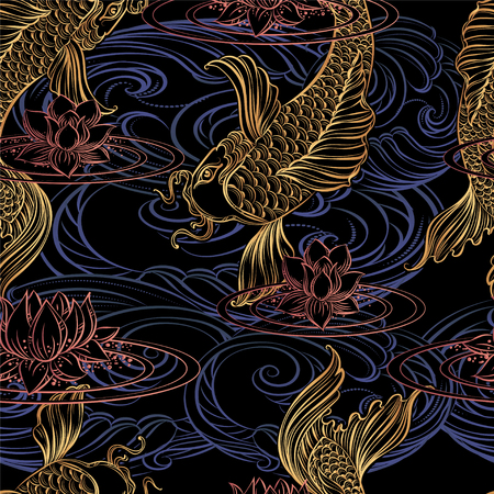 Seamless pattern from hand drawn Asian spiritual symbols - koi carp with lotus and waves.