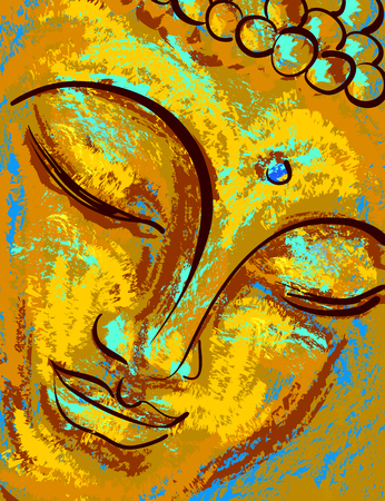 Spiritual portrait of Buddha. Vector illustration, imitation of oil paint or pastel.
