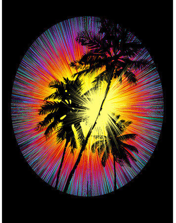 Stylized Tropical sunset with rays of the setting sun and black silhouettes of palm trees on a black background. Illustration