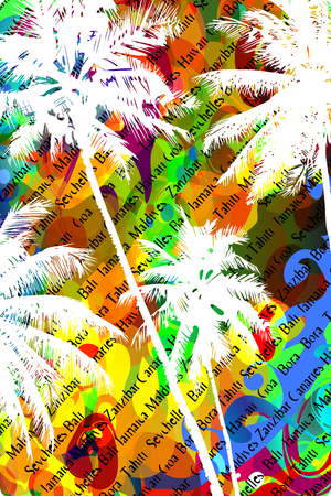 resorts: Multicolor abstract tropical background with the names of tropical resorts and white silhouettes of palm trees