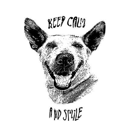 Portrait of laughing dog, who as seemed speaks - keep calm and smile