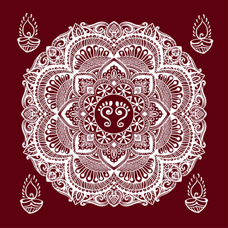 lakshmi: Happy Diwali and Lakshmi Puja Mandala background. kolam Rangoli - a traditional Indian home decoration with the footprints of the goddess feet Lakshmi and burning diya and ethnic ornament. Illustration