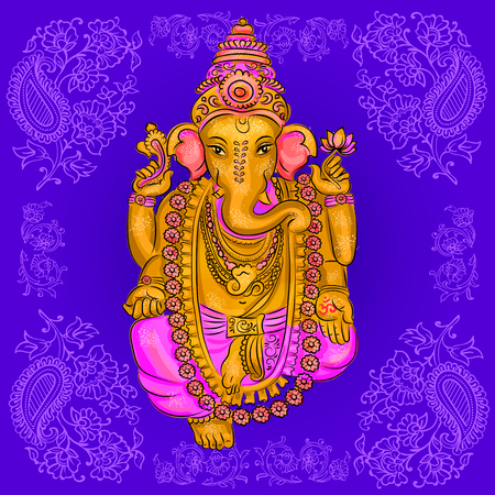 puja: lord Ganesh. Ganesh Puja. Ganesh Chaturthi. It is used for postcards, prints, textiles tattoo