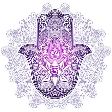 Dibujado a mano amuleto adornado Hamsa mano de Fátima. amuleto étnica común en las culturas indias, árabes y judíos. Foto de archivo - 62450369