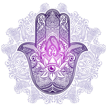 mantra: Hand drawn Ornate amulet Hamsa Hand of Fatima. Ethnic amulet common in Indian, Arabic and Jewish cultures. Illustration