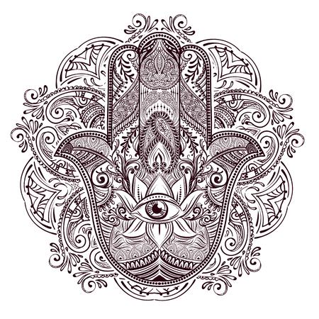 amulet: Hand drawn Ornate amulet Hamsa Hand of Fatima. Ethnic amulet common in Indian, Arabic and Jewish cultures. Illustration