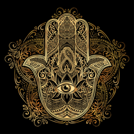 Hand drawn Ornate amulet Hamsa Hand of Fatima. Ethnic amulet common in Indian, Arabic and Jewish cultures. Ilustração